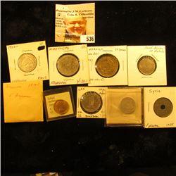 1952 Lebanon 5 piastres KM14 EF;1952 Lebanon Silver 50 piastres KM17 VF; 1952 Libya millieme KM1 UNC