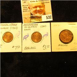 1952 Macao 10 avos 2 UNC;1961 Mozambique 20 centavos 85 UNC; & 1962 Saint Thomas & Prince 20 centavo
