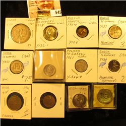 1949 Poland 10 groszy Y42a UNC;1961 Poland 10 groszy YAA47 UNC; 1960 Poland 10 zlotych Y50 EF; 1984