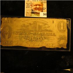 "Jan. 1st, 1863 $1 ""The State of Alabama"" Bank note."
