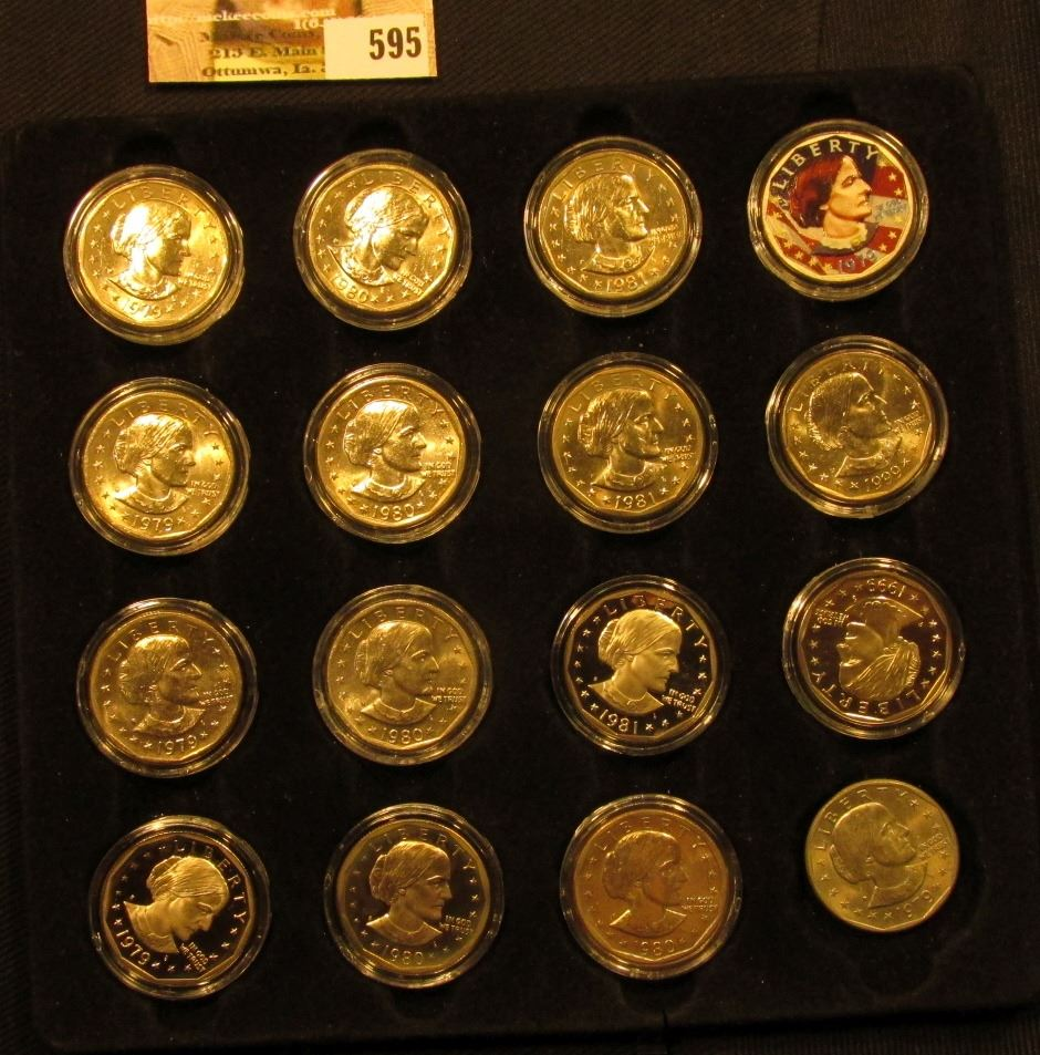 Felt Tray of (16) Susan B  Anthony Dollars including 1999 P Proof, 1979S,  80S, & 81S Proofs and a co