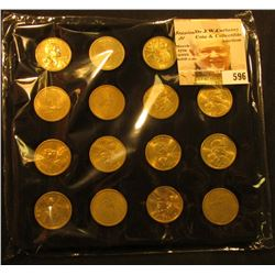 Felt Tray of (16) Native American Dollar Coins. ($16.00 face value).