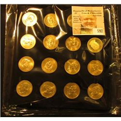16-pocket Felt Coin Tray full of U.S. Presidential Dollar Coins. Includes a couple of Proofs. ($16.0