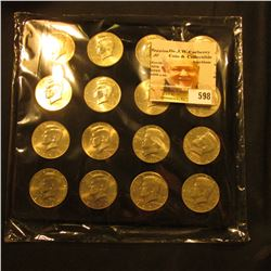 16-pocket Felt Coin Tray full of U.S. Kennedy Half Dollars. Includes a 1968 D 40% Silver, Gem BU.