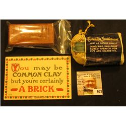 "Tobacco cloth pouch with label and product """"Country Gentleman"" for Pipe and Cigarette Ligget & Myer"
