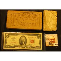 "Series 1963 $2 ""Red Seal"" U.S. Note, AU; 5"" x 2 1/2"" x 1 1/2"" Clay Brick monogrammed ""Old Nauvoo Boo"