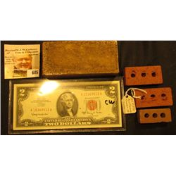 "Red Clay Brick labeled on side ""Hytex Brick"", 4"" x 1 7/8"" x 1 1/8""; (3) different miniature bricks e"