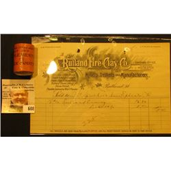 "1800 era ""Rutland Fire Clay Co. Miners, Dealers and Manufacturers Rutland, Vt."" Invoice; Clay Pipe B"