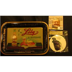 "Enamel Plate for Bier Stein ""Go Fetch Me a Quart of Sack""; & a miniature advertising serving tray ""P"