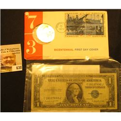 1973 Bicentennial First Day Cover with Brass Medal and Postage Stamps; & Series 1935 G U.S. One Doll