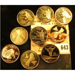 2007 S Montana, 2008 S Alaska, (4) 2008 S Hawaii Statehood Commemorative Proof Quarters; & (3) 2009