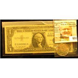 1970 D Silver Rare Date Kennedy Half Dollar, Gem BU; & Series 1957 U.S. One Dollar Silver Certiticat