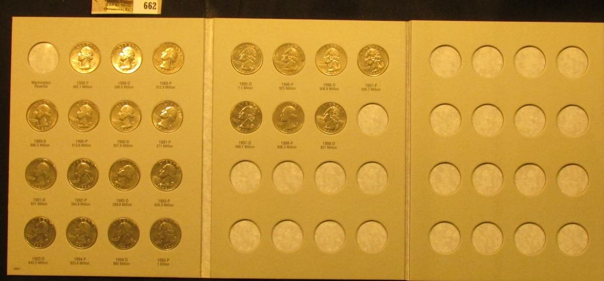 1988-98D Complete Set of U S  Washington Quarters in a blue Whitman folder  exhibited in an attractiv