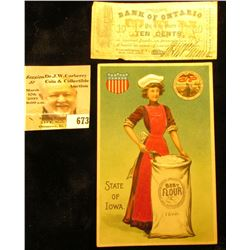 """State of Iowa Best Flour"" Advertising Postcard; & a Nov. 15th, 1862 Civil War Era Banknote drawn th"
