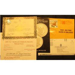 Certificate of Authenticity with (5) One Gram .999 fine Silver Bars. Includes literature.
