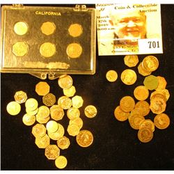 (55) Assorted copies of California small denomination gold pieces, of which 34 have no animals and 2