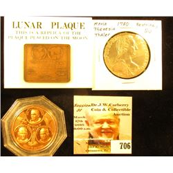Apollo 11 Bronze Medal & Miniature Replica lunar Plaque along with a 1780 Restrike Silver Maria Ther