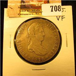 1813  P.J. Bolivia Silver 8 Real. VF