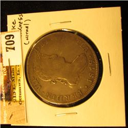 1819 Mo. I.J. Mexico Silver 8 real, VF, normal strike weakness.