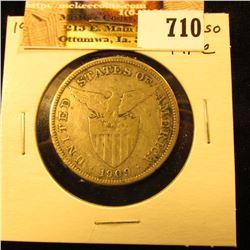 1909 S U.S. Philippines Silver One Peso, Fine.