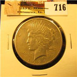 1926 P U.S. Peace Silver Dollar, EF.