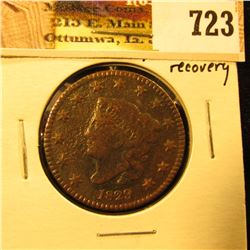 1829 U.S. Large Cent, Fine, but porous from being a ground recovery.