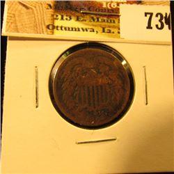 1864 U.S. Two Cent Piece, Good.