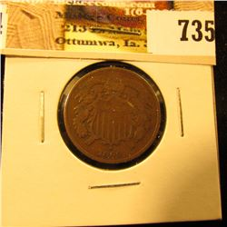 1864 U.S. Two Cent Piece, Very Good.