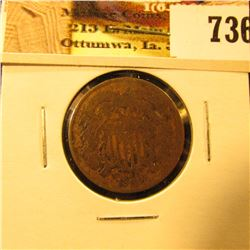 1865 U.S. Two Cent Piece, About Good.