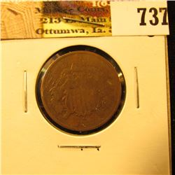 1868 U.S. Two Cent Piece, G-VG.