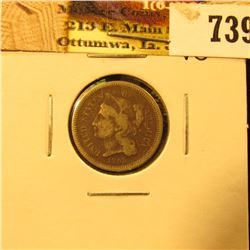 1865 U.S. Three Cent Nickel, dark, net Very Good.