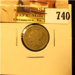 1865 U.S. Three Cent Nickel, Very Good.