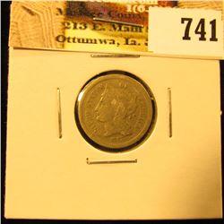 1867 U.S. Three Cent Nickel, Very Good.