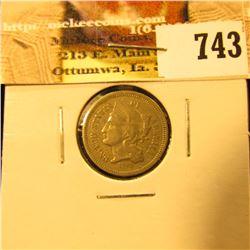 1868 U.S. Three Cent Nickel, Fine-VF.