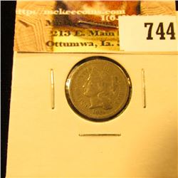 1869 U.S. Three Cent Nickel, Fine.