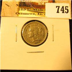 1881 U.S. Three Cent Nickel, Very Fine.