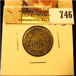 1867 No Rays U.S. Shield Nickel, AG-G.