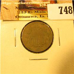 1868 U.S. Shield Nickel, G-VG.
