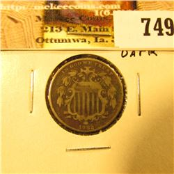 1882 U.S. Shield Nickel, F-VF, dark.