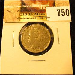 "1883 No Cents U.S. Liberty ""V"" Nickel, EF-AU."