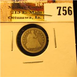 1853 U.S. Seated Liberty Half Dime, With Arrows, Good