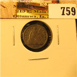 1857 U.S. Seated Liberty Half Dime, VF.