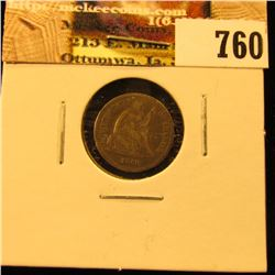 1860 Early Civil War Date U.S. Seated Liberty Half Dime, F/VF.