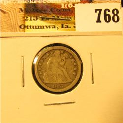 1857 U.S. Seated Liberty Dime, Fine.