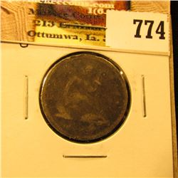 1843 O U.S. Seated Libety Quarter, G-VG, with scratches.
