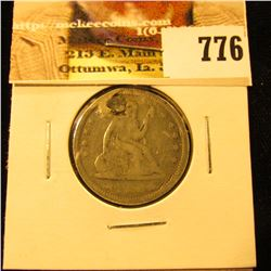 1855 With Arrows U.S. Seated Libety Quarter, Possibly Fine details, but holed and plugged.