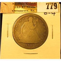 1843 P U.S. Seated Liberty Half-Dollar, Good.