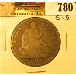 1853 Arrows & Rays U.S. Seated Liberty Half-Dollar, G5.