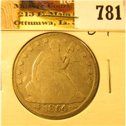 1854 Arrows U.S. Seated Liberty Half-Dollar, Good.