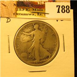 1917 Obverse D U.S. Walking Liberty Half Dollar, VG.